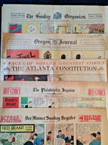 VINTAGE NEWSPAPER COMICS Lot of 5 from 5 different newspapers 1926-1937.