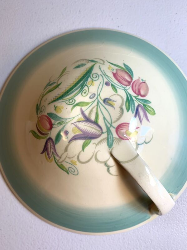 1930 Susie Cooper Dresden Spray Turquoise Art Deco Covered Veggie Dish