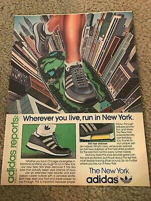 Vintage 1980s ADIDAS NEW YORK Running Shoes Poster Print Ad ART NYC TWIN TOWERS