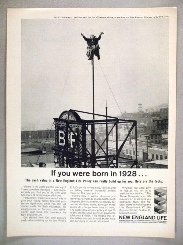 New England Life Insurance PRINT AD - 1962 Shipwreck Kelly flagpole sitting 1928