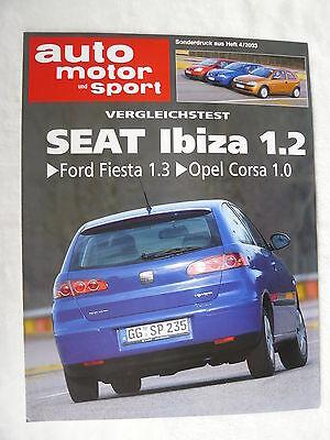 Seat Ibiza 1.2 - Vergleichstest - Sonderdruck Auto Motor & Sport Heft 4/2003