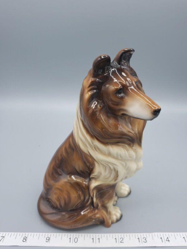 "Vintage Lassie Style Sheltie Collie Dog Large Ceramic Figurine Made Japan 7.5"""