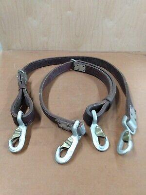 Vintage 2 Klein Tools Lineman Pole Tree Climbing Belt Leather Safety Straps Pair