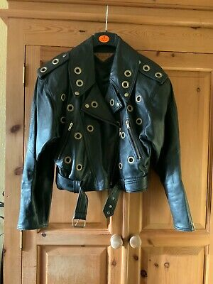 Women's Vintage Milan Leatherwear Belted Short Style Leather Jacket - Size 14