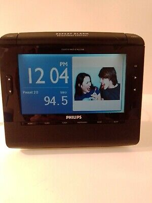 Philips Clock Radio AJL308 Alarm Photo Video Mp3 W/ 16 GB SD Card Window Media