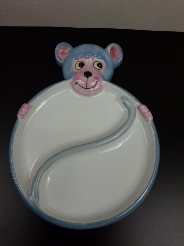 Vintage Monkey (VA026) Childs DIVIDED PLATE BOWL BABY DISH~ Studio Nova~ Japan