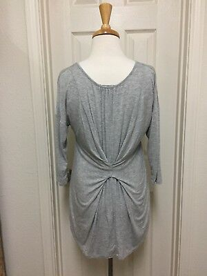 - Kim & Cami SOFT Stetch Knit GRAY Gathered Back, 3/4 Sleeve, Hi-Lo, Pullover, EUC