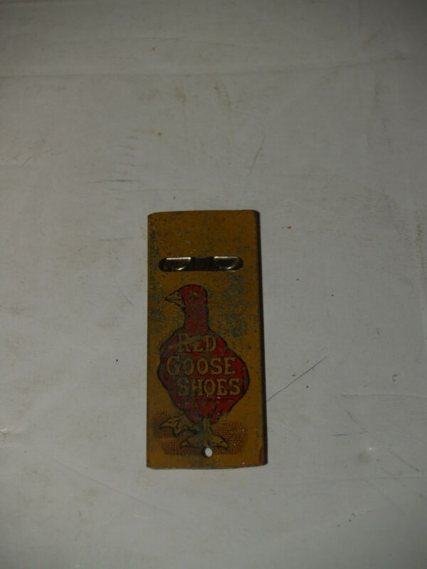 Vintage Original Red Goose Shoes Tin Litho Metal Whistle