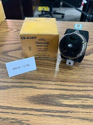 Hubbell Hbl Cs6369 50a 125250v Twist-lock Receptacle Non-nema Used Cracked