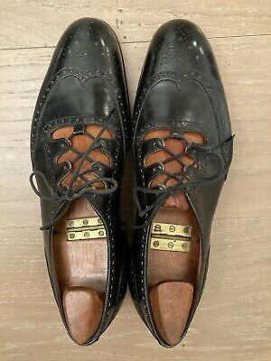 Pair of John Lobb Full Brogue Men's Black Leather Ghillies