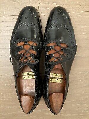 Pair of John Lobb Full Brogue Men's Black Leather Ghillies