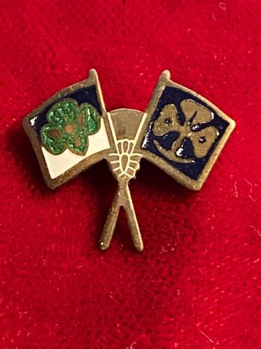 Girl Scouts Friendship Crossed Flags WAGGGS Girl Guides Trefoil Vtg Hinge Pin