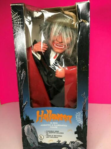 Vintage Witch Time Dracula Vampire Animated Halloween Figure with Box