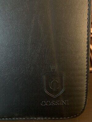 Cossini Black Vegan Leather Portfolio Zip Case Wpouch Notepad Calculator Pen