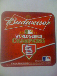 ST. LOUIS CARDINALS 2011 World Series BUDWEISER BUSCH BEER COASTERS   Set of 8