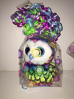 TY ARIA THE MULTI COLORED OWL BEANIE BOOS,NEW,NON MINT W/TAG-IN CELLO BAG-BRIGHT
