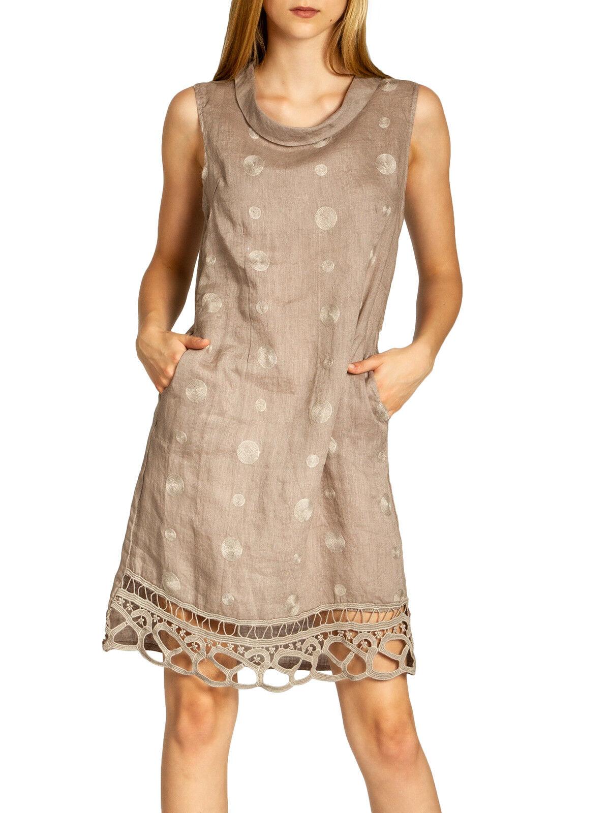 CASPAR SKL019 Damen Sommer Kleid Leinenkleid knielang elegant Taupe XL 42 Braun
