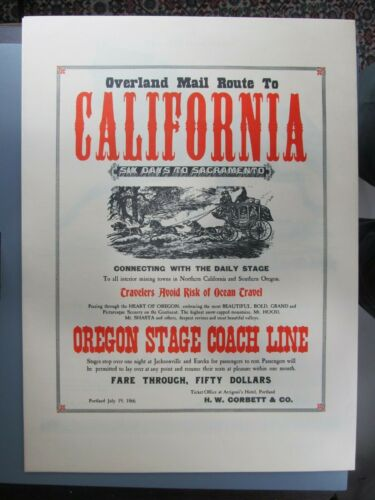 Overland Mail Route to California, Poster Reproduction, Morgan Press
