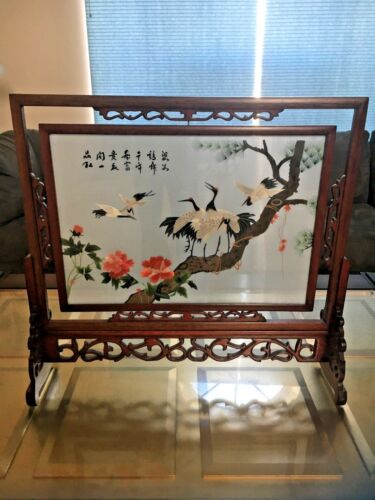 Vintage Chinese Screen of Double Sided Silk Embroidery-Cranes Flowers Trees Poem