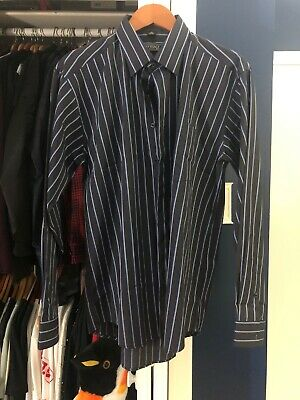 Versace Classic V2 Dress Shirt Button Up Size 17 Large / XL Navy Blue Stripes
