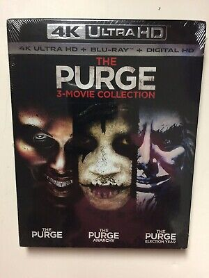 The Purge 3-Movie Collection (4k UHD Blu-ray/Blu-ray, Digital HD) NEW w/slipcase - Finnish Halloween