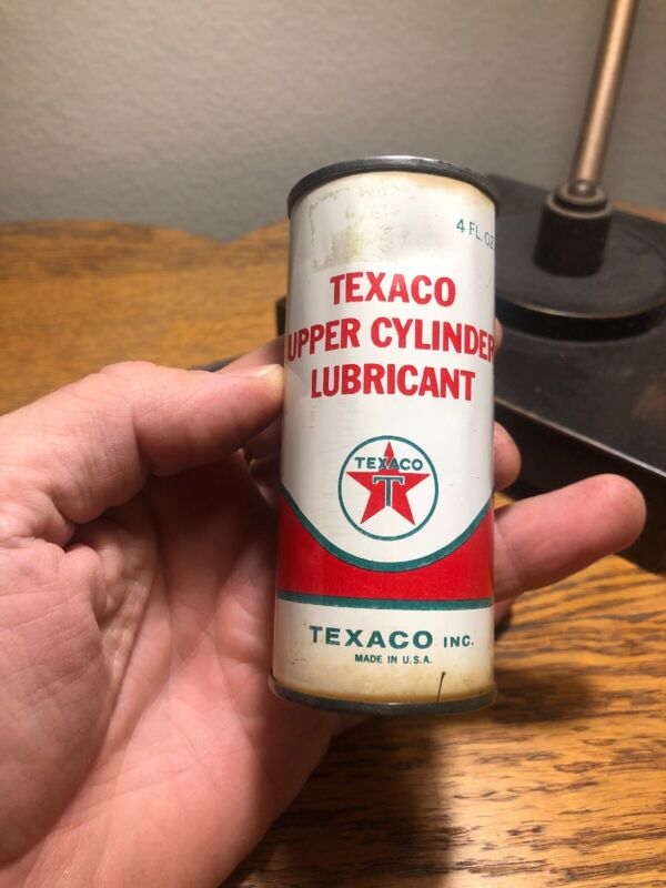 VINTAGE TEXACO UPPER CYLINDER OIL LUBRICANT ADVERTISING CAN ~ Air Sealed Display