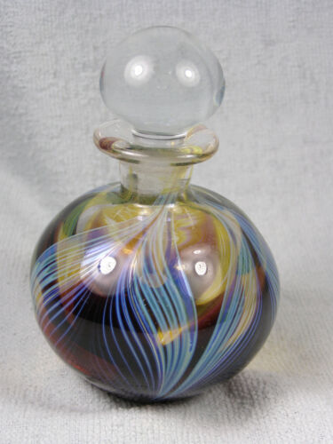 Art Glass Purple and Turquoise Pulled Feather Perfume Bottle