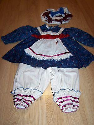Toddler Size 2-4 Rubies Ragamuffin Raggedy Rag Doll Halloween Costume w Hat EUC