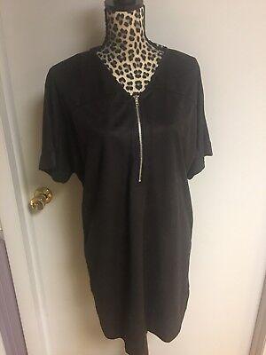 Zip Front T-shirt Kleid (Missguided Black Faux Suede Oversized Zip Front T-Shirt Dress Size 8)