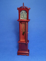 Miniature Dollhouse Mahogany Grandfather Clock 1:12 Scale New