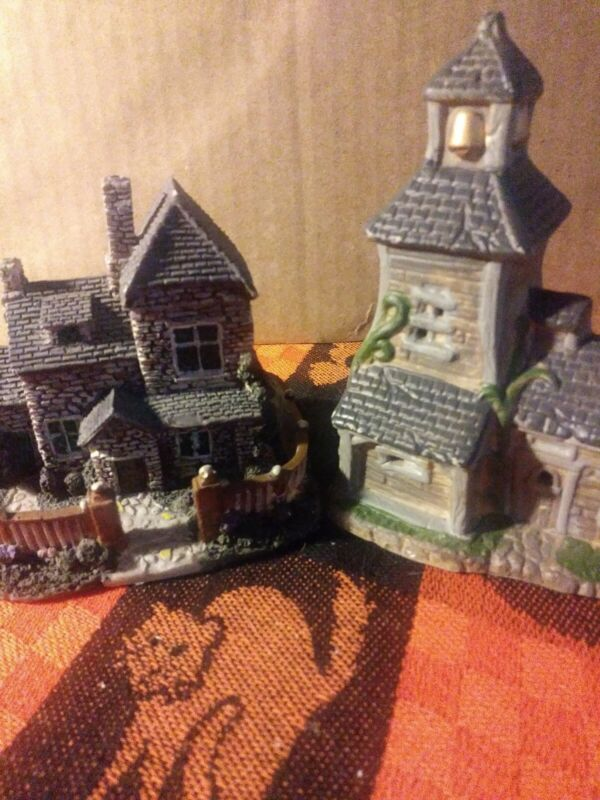 Vintage Haunted House And Spooky Church Figurines