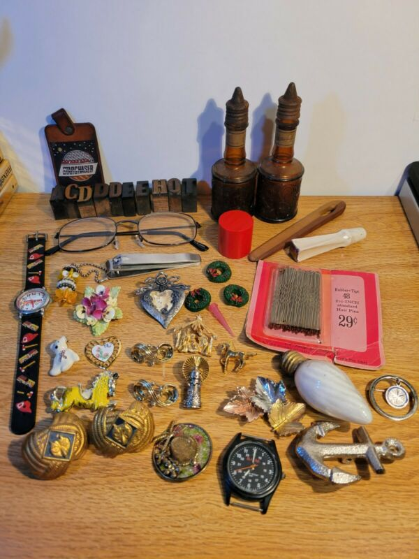 Junk Drawer Lot Brooches Pins Glasses Printing PressStamp Letters Miscellaneous