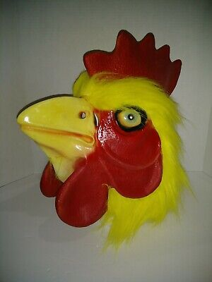 Chicken Rooster Mask Yellow Halloween Full Head Latex Farm Animal Faux Fur OS A2 ()