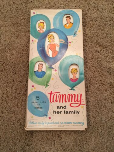 1964 Original Vintage Tammy and her family cardboard dolls and stands with paper