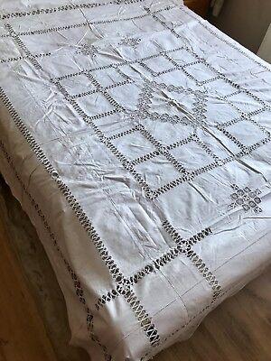 Vintage 1900s Linen Bedspread Cover Lace Panels Dawn Work Boutique Home Boudoir
