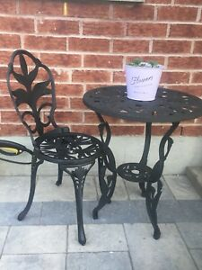 Cast iron table and one chair ( bistro set ) Outdoor