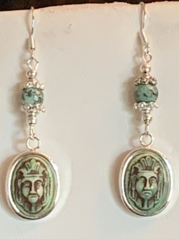 40% Off ANTIQUE MAX NEIGER CZECH GLASS PHARAOH AFRICAN TURQUOISE EARRINGS.925