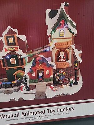 """13"""" Musical LED Toy Factory Prelit Fun Christmas Village Building Holiday Decor"""