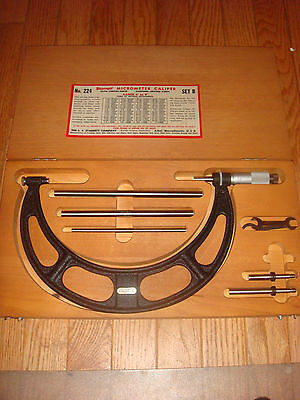 Starrett No. 224 Outside Micrometer Set 6 - 9 With Interchangeable Anvils New