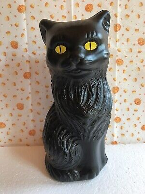 """Blow Mold Halloween Black Cat Bank Decoration Yellow Eyes Union Products 11"""""""