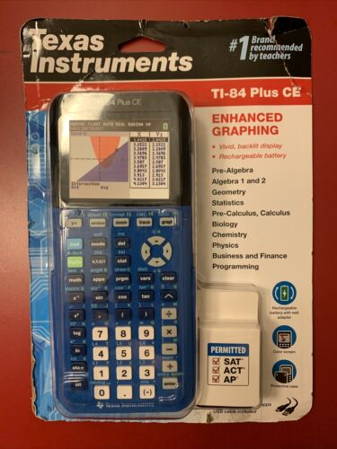 Texas Instruments TI 84 PLUS CE Graphing Calculator - Blue -