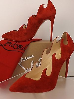 NIB LOUBOUTIN OLAVAGUE 100 FLAME DARK RED SUEDE CLASSIC PUMPS 38.5 $845 ITALY