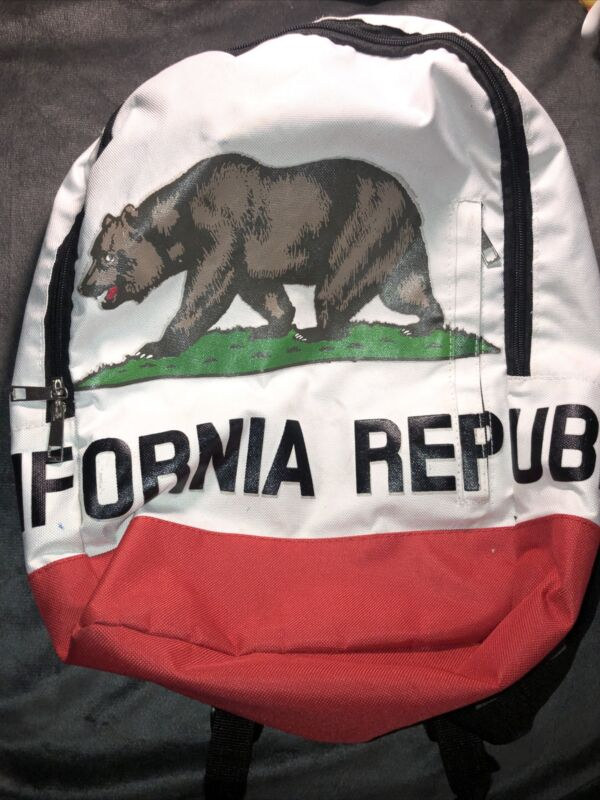 Full Size CALIFORNIA Backpack Republic Bear State Flag Canvas