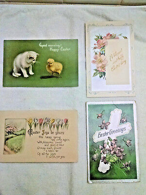 4 Antique Easter Greeting Postcards -1908  (German) posted & un posted Good - Easter Goods