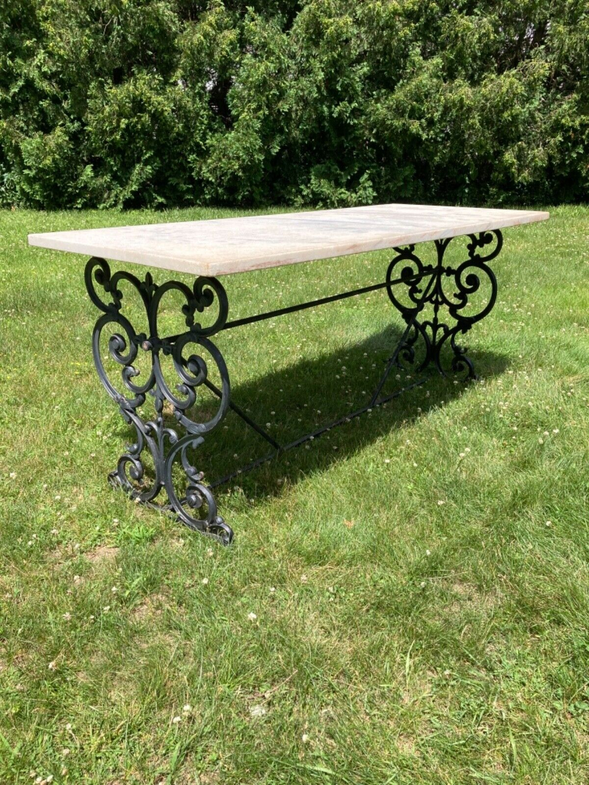 Stunning Cast Iron Base Marble Top Table French Flair Fleur De Lis 72/30/30  - $4,750.00