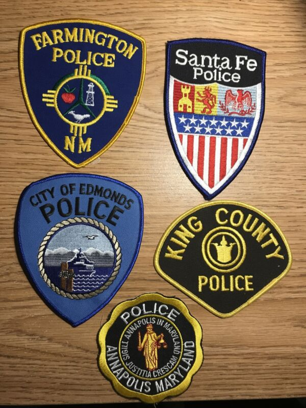 police patch collection lot:Farmington NM, Santa Fe,Edmonds WA,King Co&Annapolis