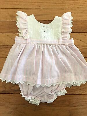 Vintage Baby Dior 12 Month Pink Blue Stripe Dress Bloomers