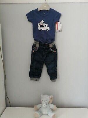 HUDSON BABY 👕👖 Blue T-Shirt + Jean Trouser Set  [6-9 months]