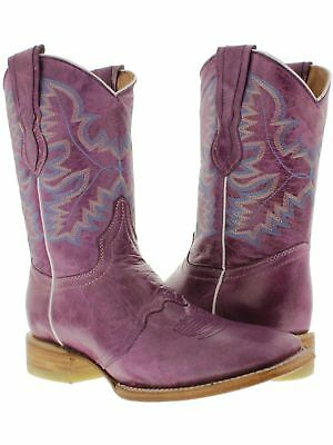 Womens Purple Plain Leather Cowgirl Boots Mid Calf Casual Western Square - Purple Cowboy Boots