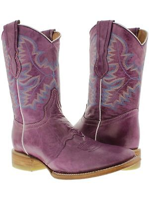 Womens Purple Plain Leather Cowgirl Boots Mid Calf Casual We
